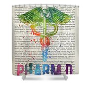Doctor Of Pharmacy Gift Idea With Caduceus Illustration 03 Shower Curtain