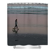 Dog Walking Along The Beach Shower Curtain