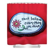 Don't Believe Everything You Think Painted Rock Shower Curtain