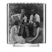 Doris Ulmann   1882-1934  Four Musicians Including A Man Playing A Guitar, A Man Playing A Violin Shower Curtain
