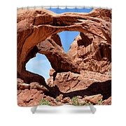 Double Arch In Utah Park During Summer Time  Shower Curtain