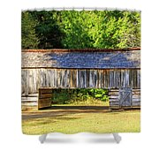 Double Crib Barn In Cades Cove In Smoky Mountains National Park Shower Curtain