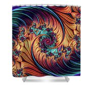 Double Fractal Spiral Shower Curtain