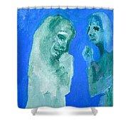 Double Portrait On Blue Sky Shower Curtain