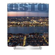 Downtown Boston At Night With Charkes River In The Middle Shower Curtain