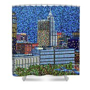 Downtown Raleigh - City At Night Shower Curtain