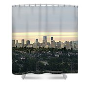 Downtown Sunset Shower Curtain by Juan Contreras