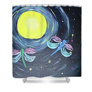 Dragonflies And Moonlight Shower Curtain