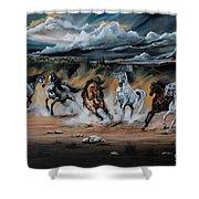 Dream Horse Series 125 - Flat Bottom River Wild Horse Herd Shower Curtain