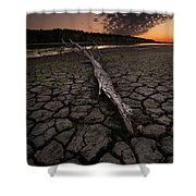Dry Banks Of Rainy River After Sunset Shower Curtain