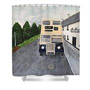 Dublin Bus Painting Shower Curtain