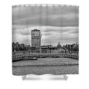 Dublin Ireland - Ha Penny Bridge In Black And White Shower Curtain