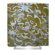 Dull Yellow With Masking Fluid Shower Curtain by AJ Brown