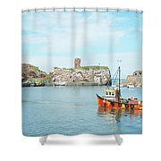 Dunbar Castle Ruins, Harbour And Fishing Boats Shower Curtain