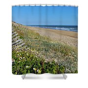 Dunes Wooden Fence Shower Curtain