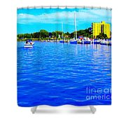 Dunkirk New York Harbor With Neon Effect By Rose Santucisofranko Shower Curtain by Rose Santuci-Sofranko