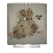 Duo Of Elephants Shower Curtain