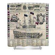 Early 18th Century British Man Of War Ship Diagram Shower Curtain