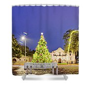 Early Morning Panorama Of Christmas Tree And Lights At The Alamo Mission - San Antonio Texas Shower Curtain