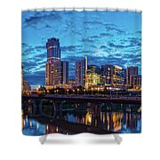 Early Morning Panorama Of Downtown Austin From South Lamar Bridge Over Lady Bird Lake - Austin Texas Shower Curtain