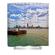 East Pierhead Lighthouse View Of Cleveland Shower Curtain