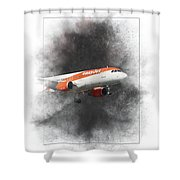 Easyjet Airbus A319-111 Painting Shower Curtain