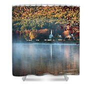 Eaton Nh Little White Church With Fall Foliage Shower Curtain by Jeff Folger