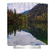 Echo Lake Early Autumn Reflection Shower Curtain