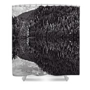 Echo Lake Reflection Black And White Shower Curtain