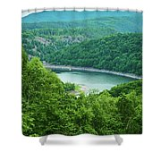 Edersee Lake Surrounded With Forest Shower Curtain