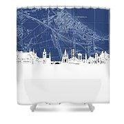 Edinburgh Skyline Map Blue Shower Curtain