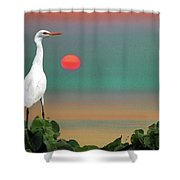 Egret At Evening Shower Curtain