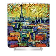 Eiffel Tower And Paris Rooftops In Sunlight Textural Impressionist Stylized Cityscape Mona Edulesco Shower Curtain