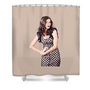 Elegant High Fashion Model In Autumn Clothes Shower Curtain