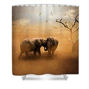 Elephants At Sunset 072 - Painting Shower Curtain