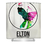Elton Watercolor Poster Shower Curtain