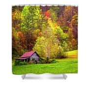 Embraced In Autumn Color Painting Shower Curtain