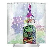 Empire State Building Colorful Watercolor Shower Curtain
