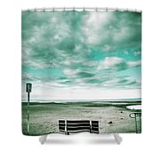 Empty Beach Bench Shower Curtain
