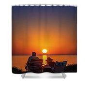 Enjoying The Sunset Shower Curtain