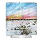 Ephemeral Sunset Shower Curtain
