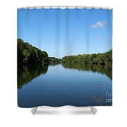 Erie Canal In Early Autumn Shower Curtain