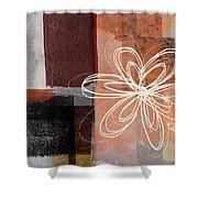 Espresso Flower 1-  Art By Linda Woods Shower Curtain