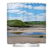 estuary on river Aln at Alnmouth Shower Curtain