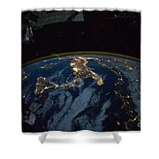 Italy From Space At Night Shower Curtain