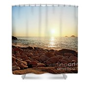 Evening Glow At Porth Nanven Shower Curtain