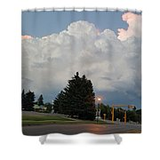 Evening Lightning Storm Illuminates The Sky Shower Curtain