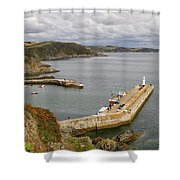 Evening Over Mevagissey Harbour  Shower Curtain