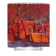 Evening Shadows On A Round Taos House Shower Curtain