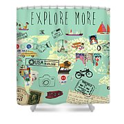 Exlore More World Map Shower Curtain